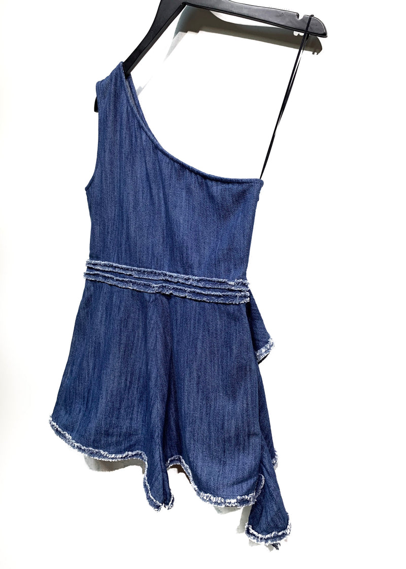 Alexis Blue Denim One Shoulder Shorts Bodysuit