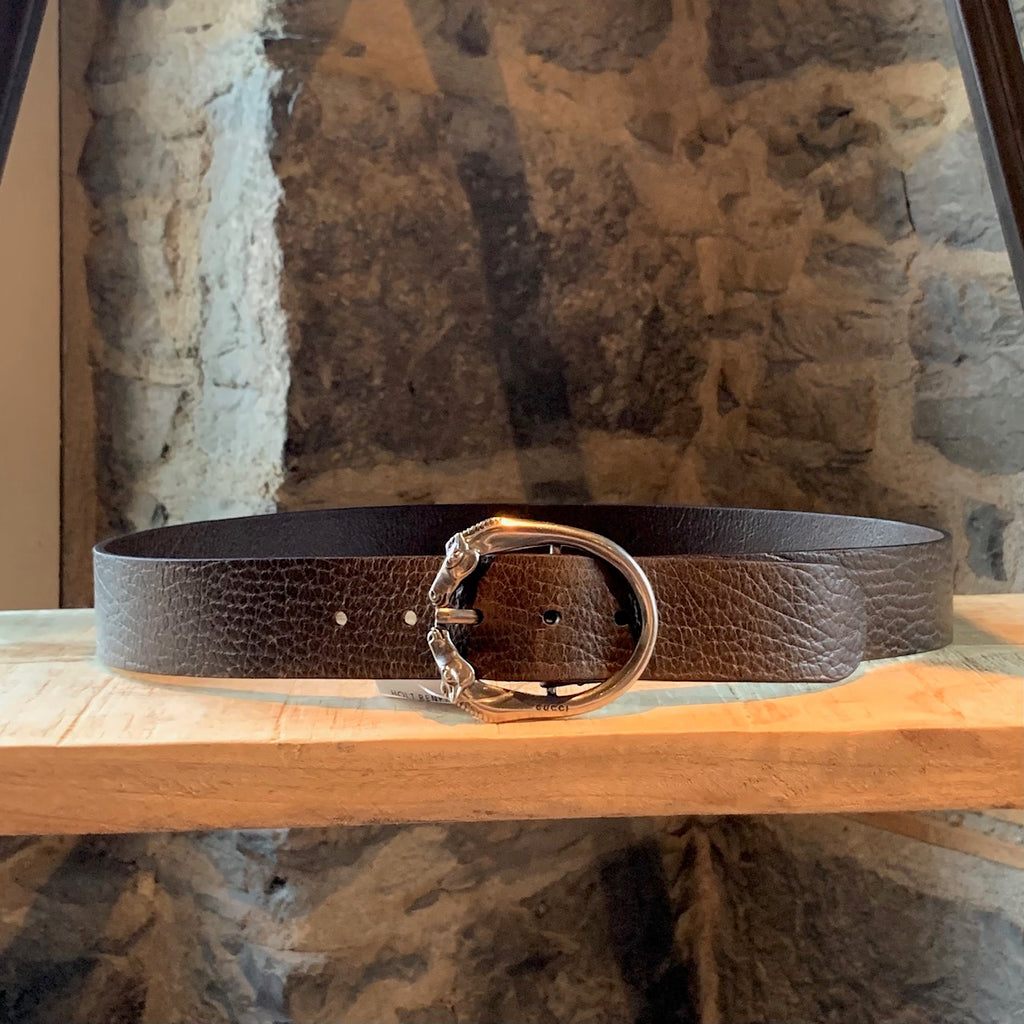 Gucci Brown Leather Silver Horse Buckle Belt