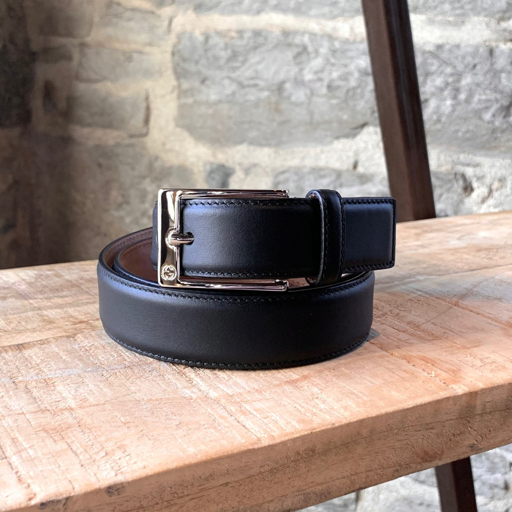 Gucci Black Leather Classic Dressy Belt