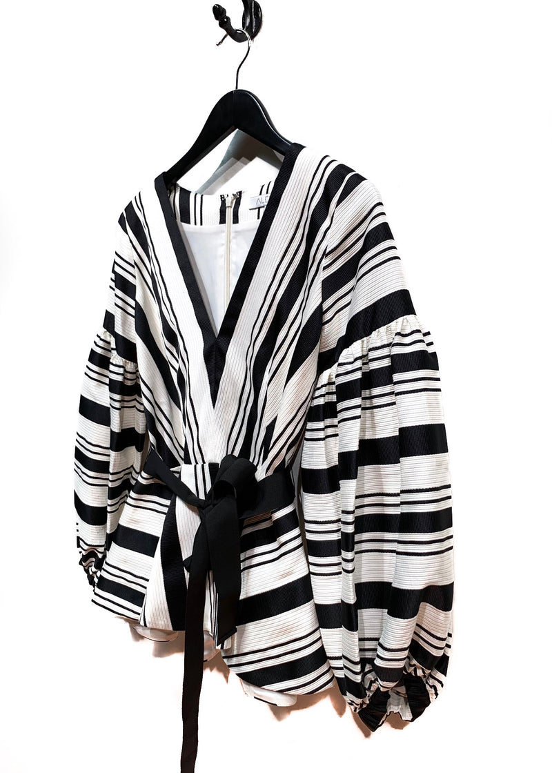 Alexis Black and White Striped Gathered Sleeve Blouse
