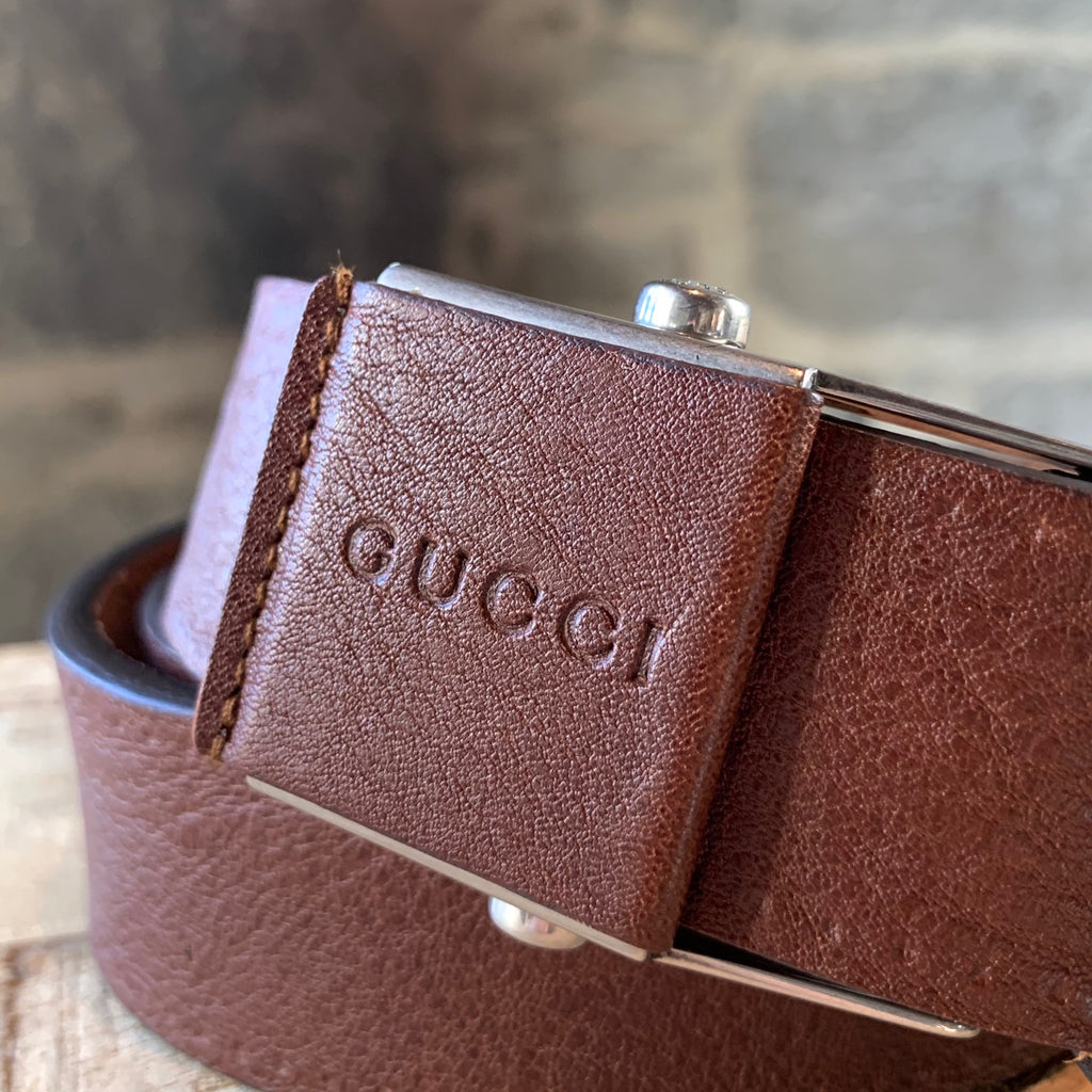 Gucci Brown Slide In Leather Belt
