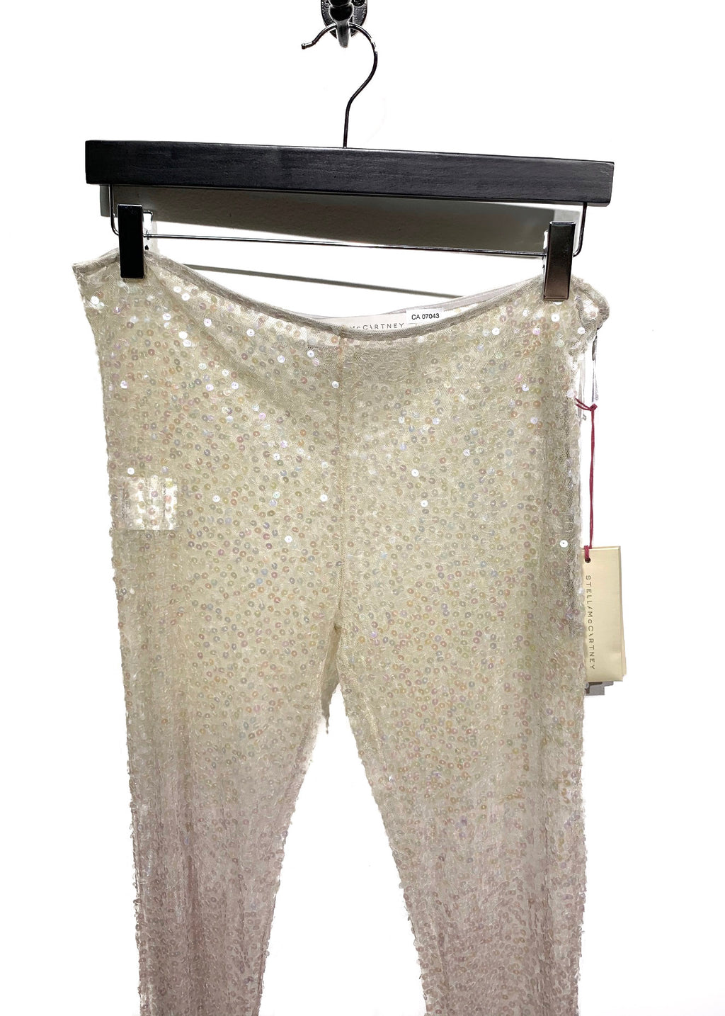 Stella McCartney Ivory Grey Dégradé Sequin Embroidered Mesh Leggings