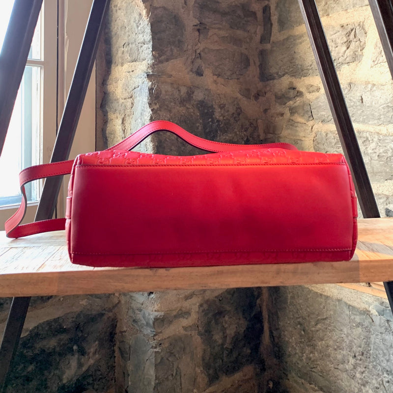 Gucci Miss GG Red Leather Guccissima Hobo Bag