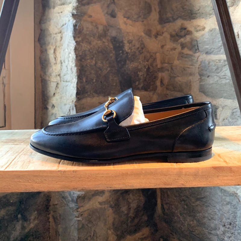 Gucci Jordaan Black Leather Horsebit Loafers
