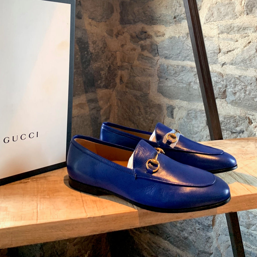 Gucci Jordaan Electric Blue Leather Horsebit Loafers