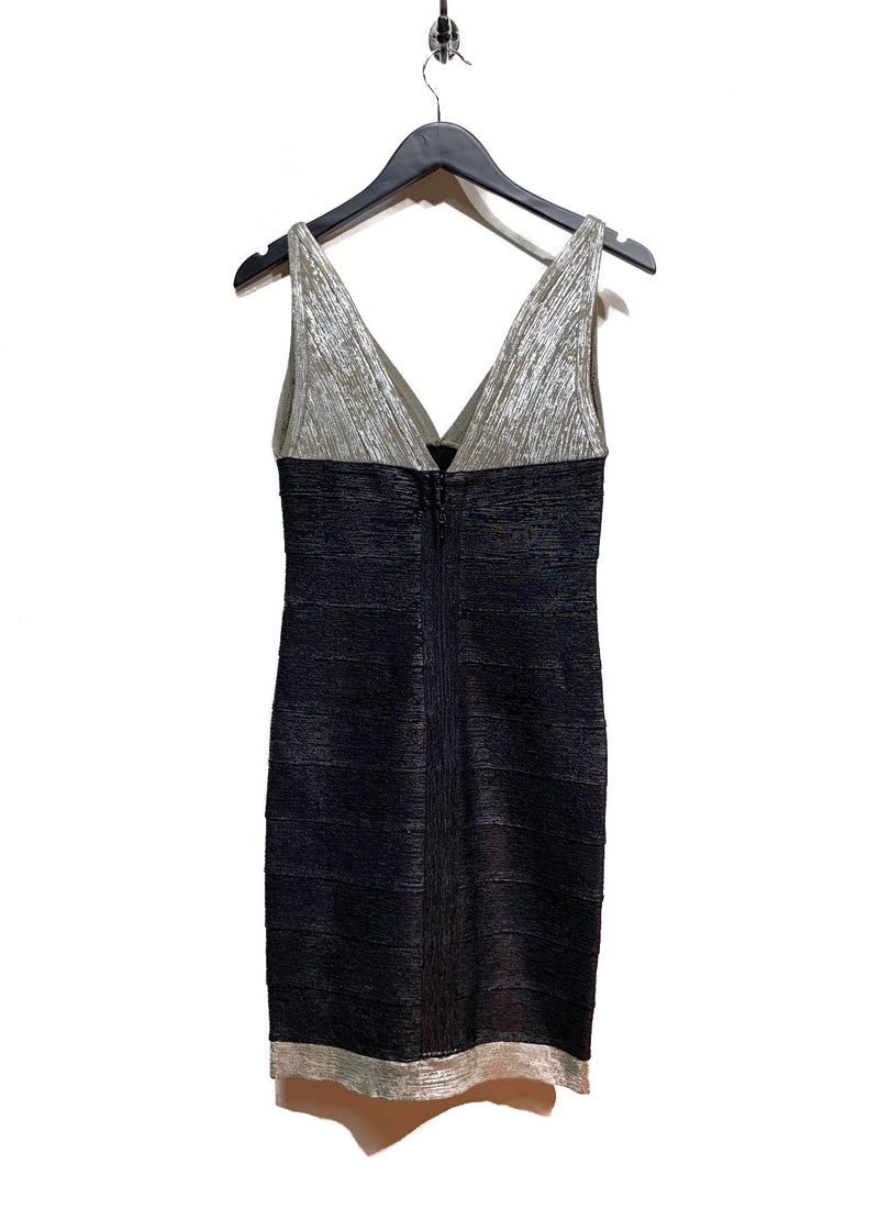 Hervé Léger Black Silver Metalic Bandage Bodycon Mini Dress