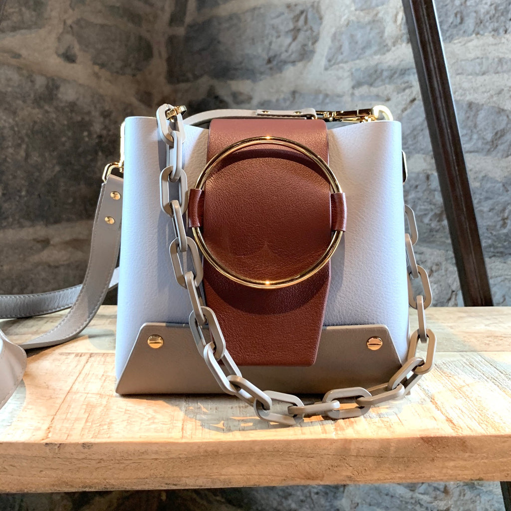 Yuzefi Delila Colorblock Blue Brown Satchel Ring Chain Bucket Bag