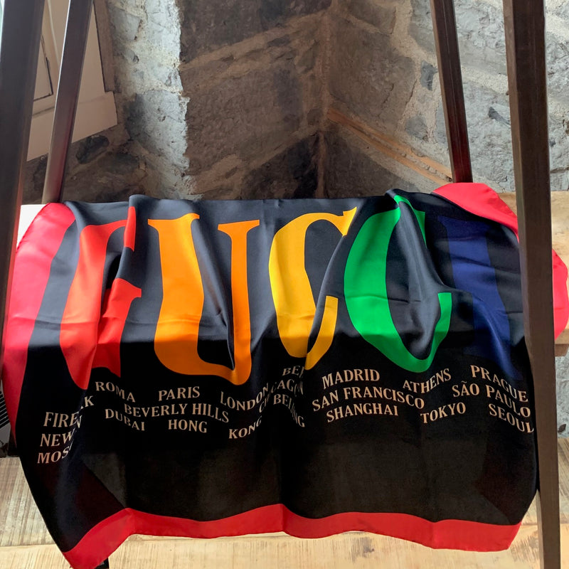 Gucci 2018 Rainbow Logo Cities Names Scarf