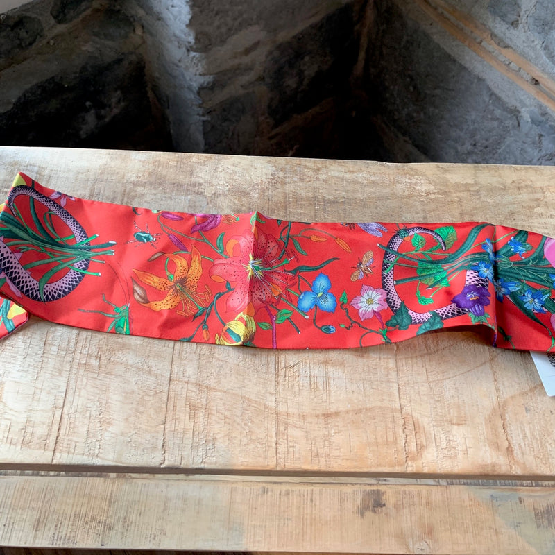 Gucci Red Coral Snake Floral Printed Silk Neck Bow