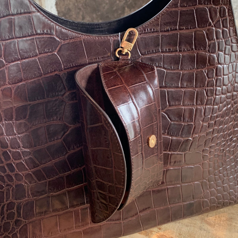 Staud Large Brown Crocodile Embossed Rey Shoulder Bag