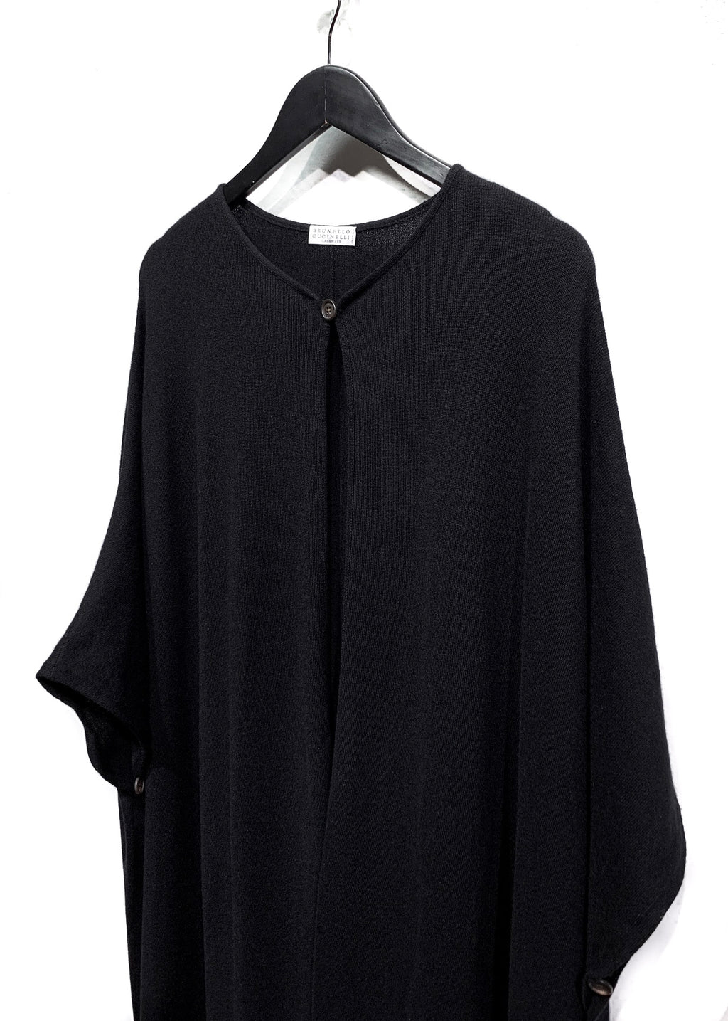 Brunello Cucinelli Black Cashmere Beaded Fringes Cape
