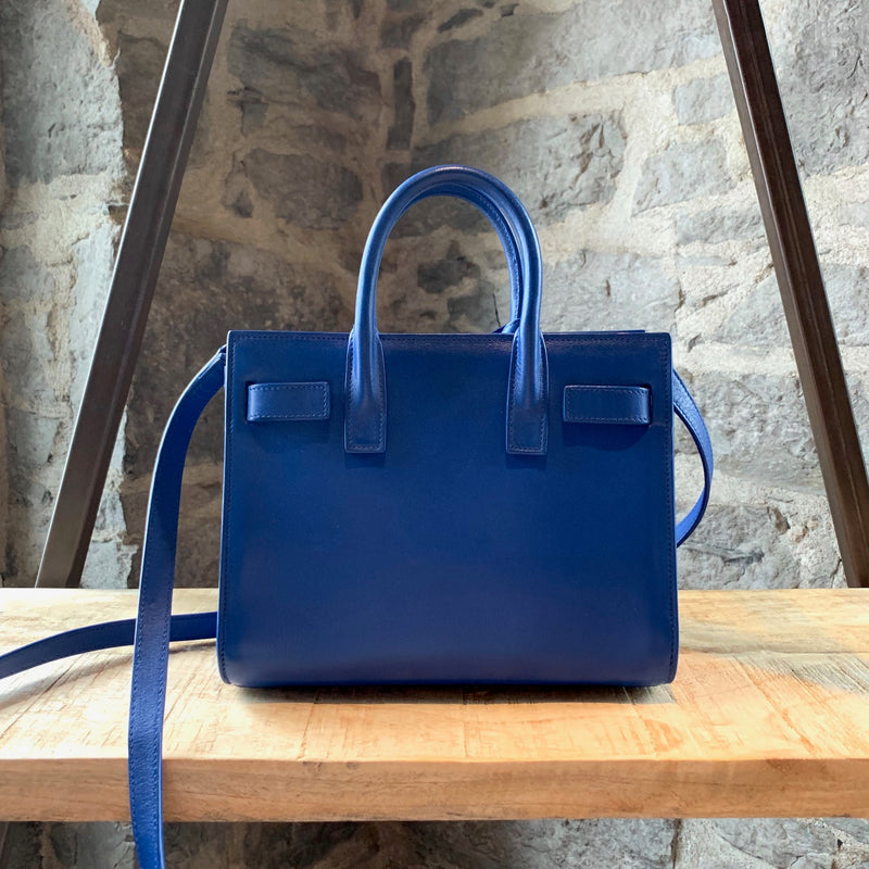Saint Laurent Paris Cobalt Blue Smooth Leather Nano Sac de Jour Handbag