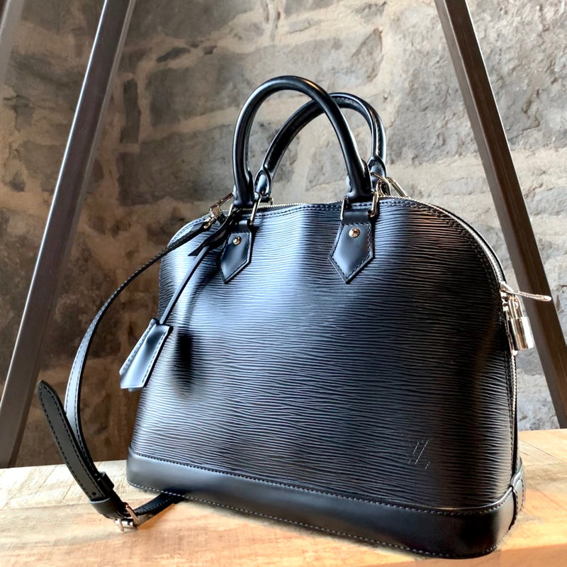 Louis Vuitton Black Epi Leather PM Alma Handbag