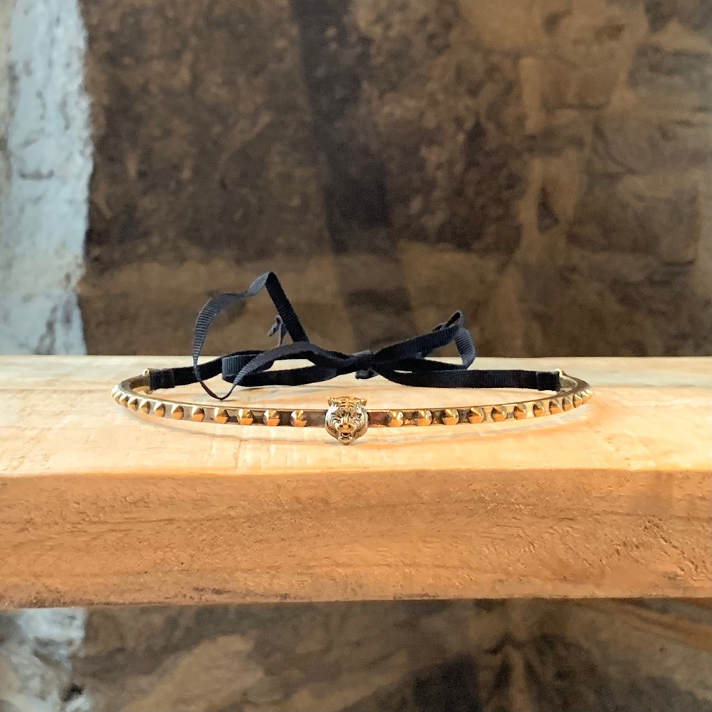Gucci Antique Gold-tone Feline Head Studded Choker Necklace