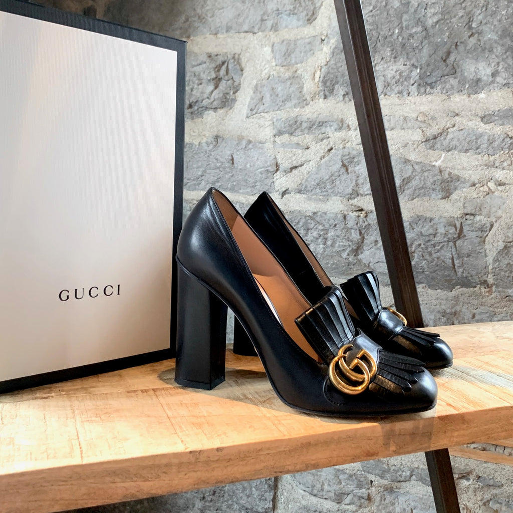 Gucci Black Leather Marmont GG Fringed Pumps