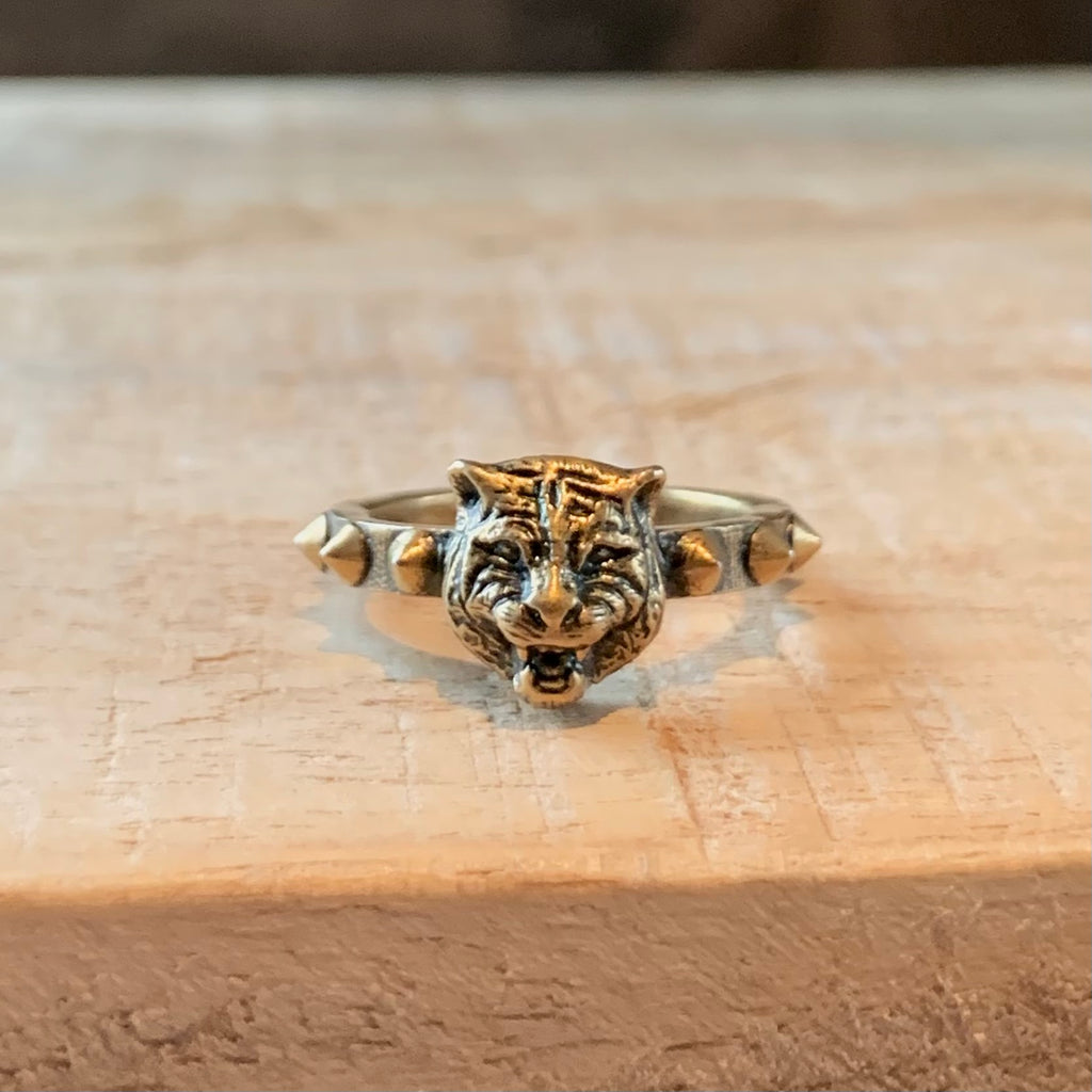 Gucci Antique Gold-tone Feline Head Ring