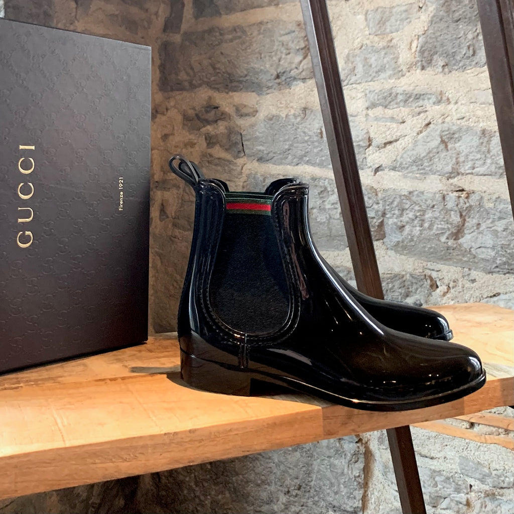 Gucci Black Rubber Web Detail Storm Rain Boots