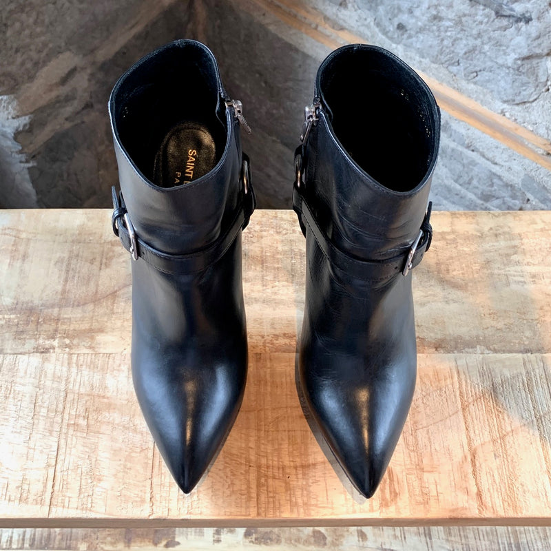 Saint Laurent Paris Black Smooth Leather Janis 105 Harness Booties