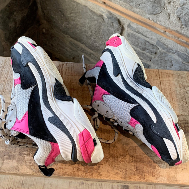 Balenciaga White And Pink Distressed Triple S Sneakers