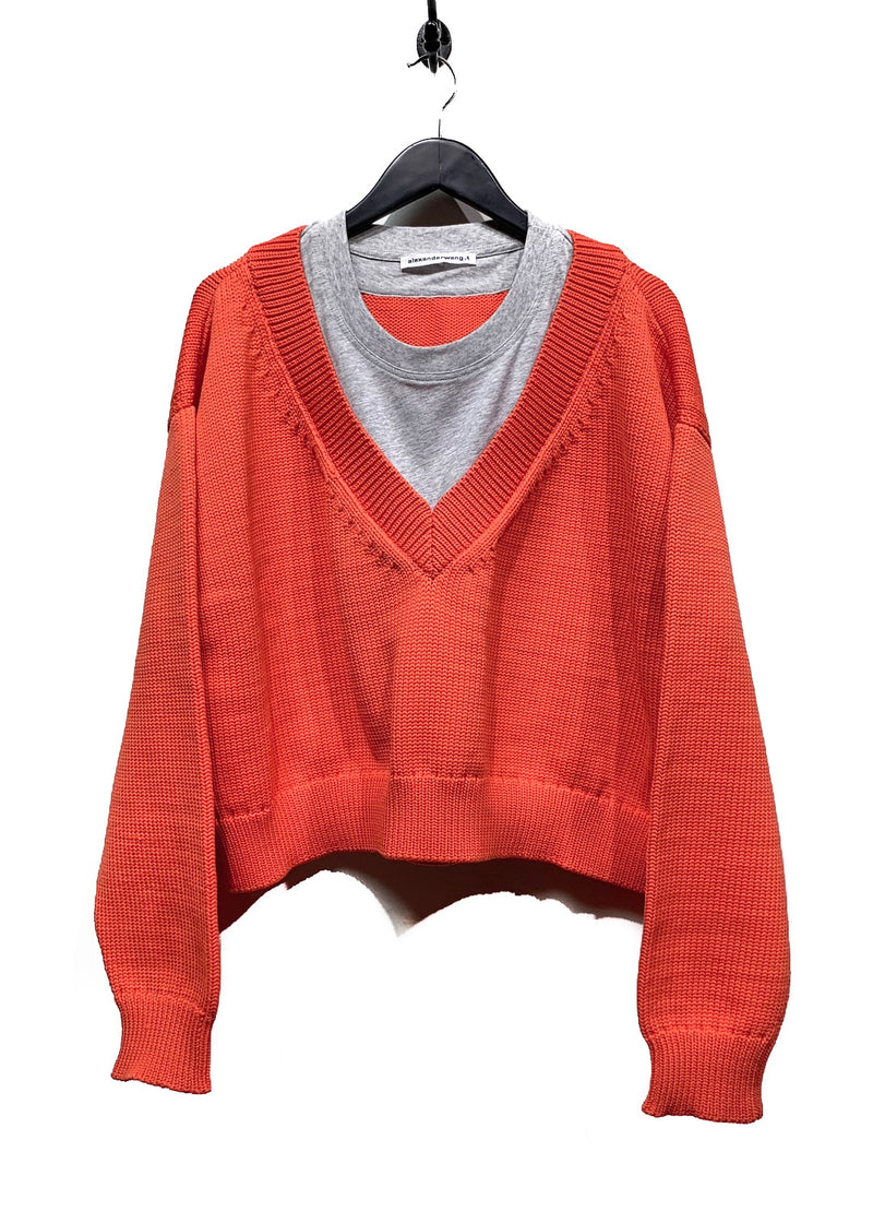 Alexander Wang alexanderwang.t Orange Mixed Media Layering Knit V-neck Sweater