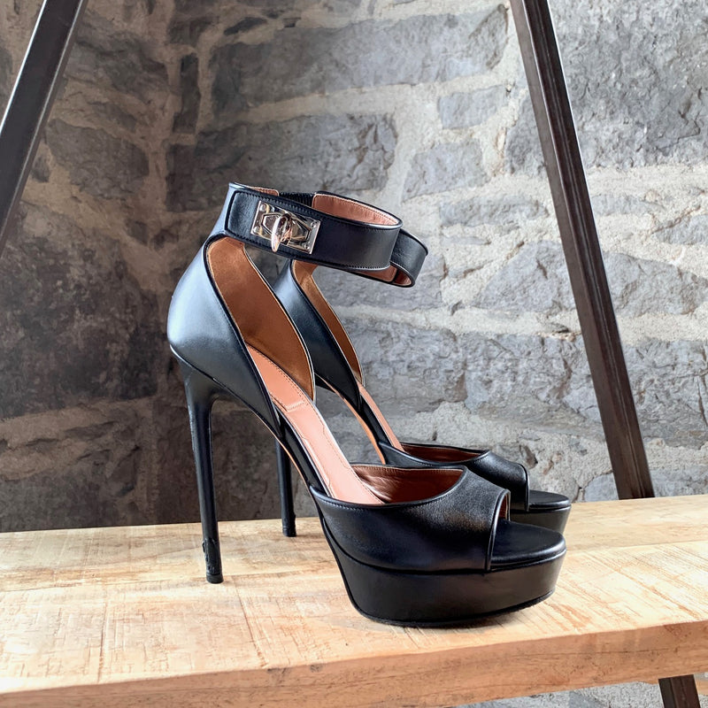 Givenchy Sharklock Black Ankle Strap Platform Sandals