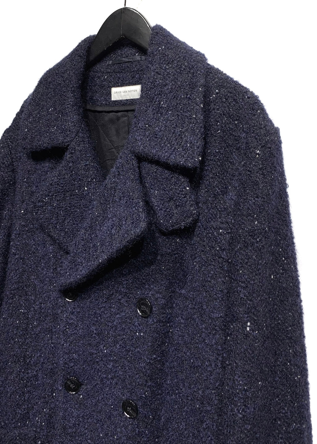 Dries Van Noten Navy Black Bouclé Doublebreasted Peacoat