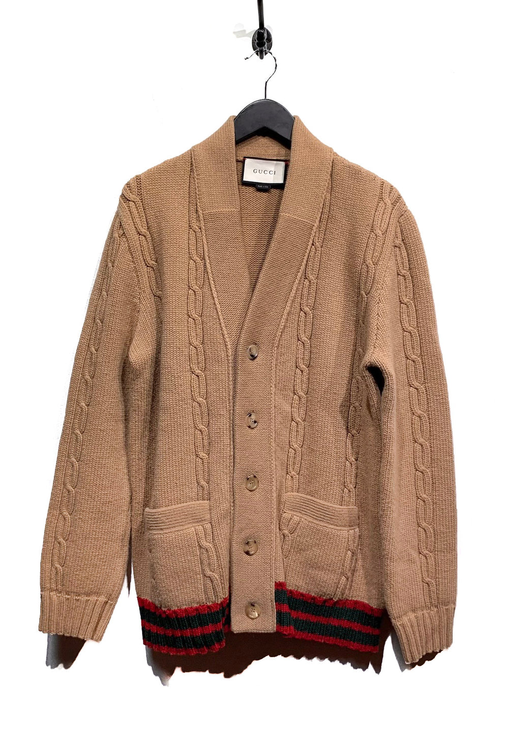 Gucci Beige Cable Knit Cardigan With Web Bottom