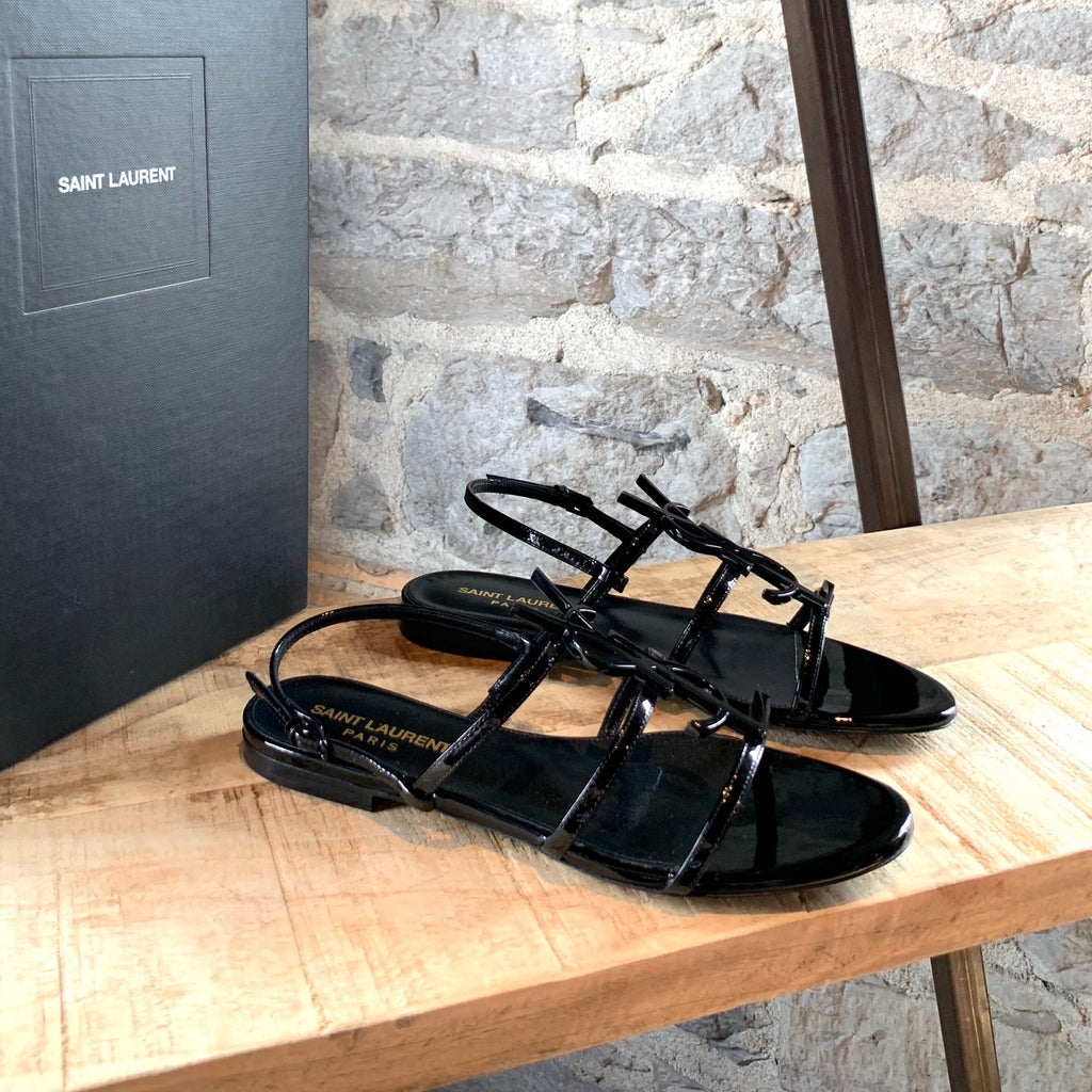 Saint Laurent Paris Black Patent Leather Cassandra Logo Flat Sandals