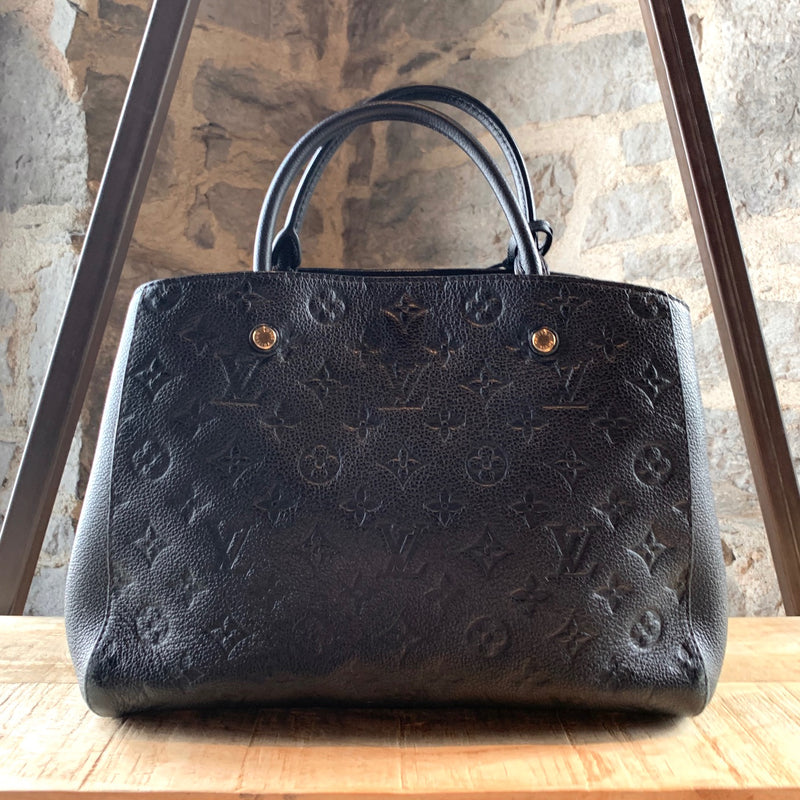 Louis Vuitton Black Empreinte Leather MM Montaigne Handbag