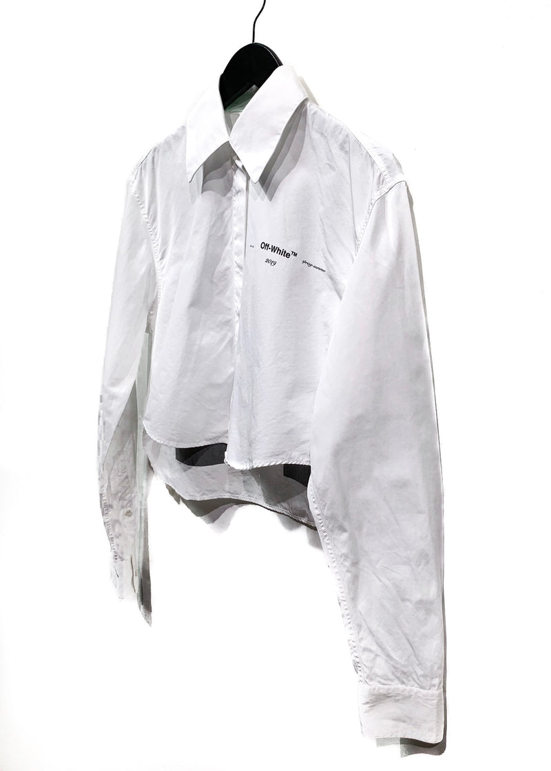 Off-White SS19 White Cropped Buttoned Shirt