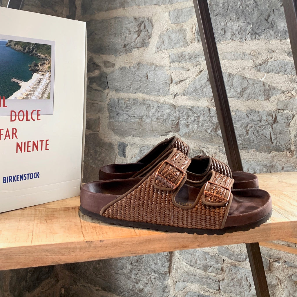 "Birkenstock ""Il Dolce Far Niente"" Arizona Rivet Logo Raffia Brown Sandals"