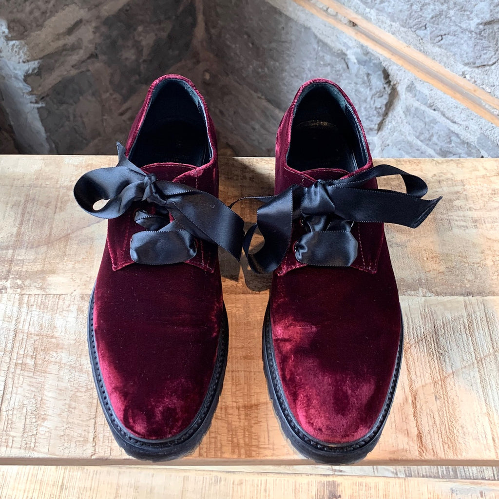 Saint Laurent Paris Burgundy Velvet Derby Shoes