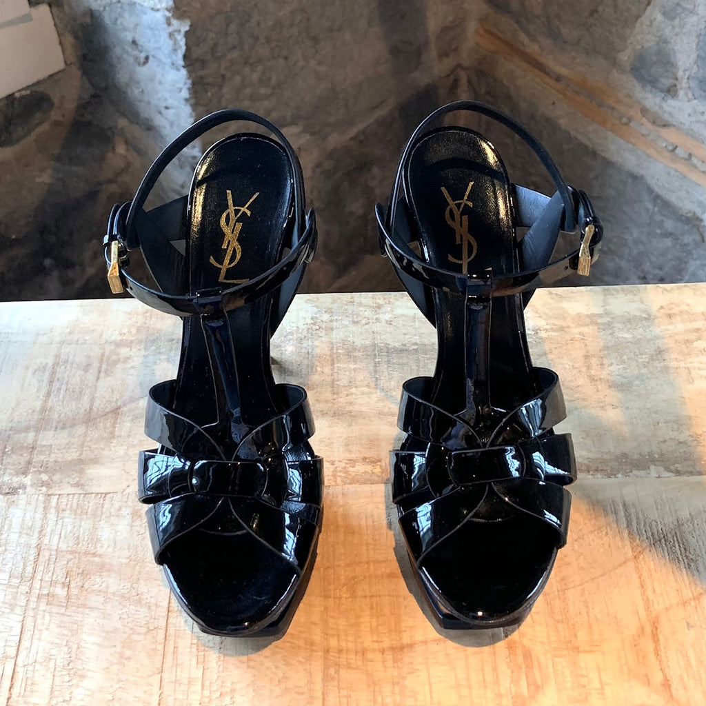 Saint Laurent Black Patent Leather Tribute 105 Sandals