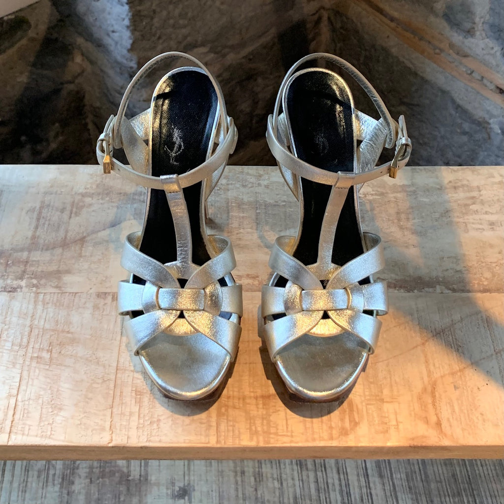 Saint Laurent Platinum Metallic Leather Tribute 105 Sandals