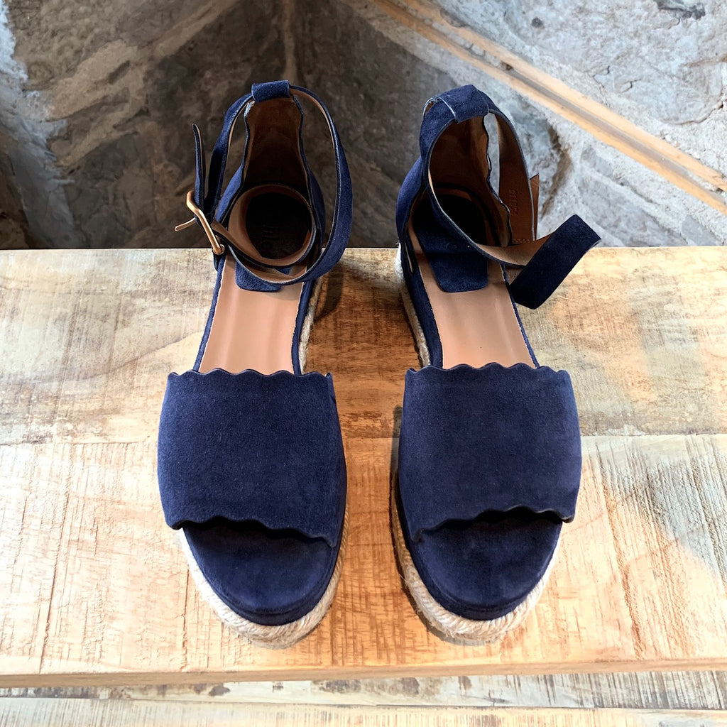 Chloé Navy Suede Scalloped Platform Sandals
