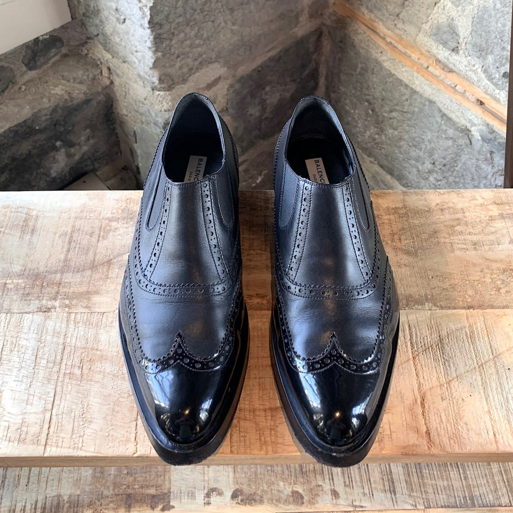 Balenciaga Black Leather Patent Oxford Dress Shoes