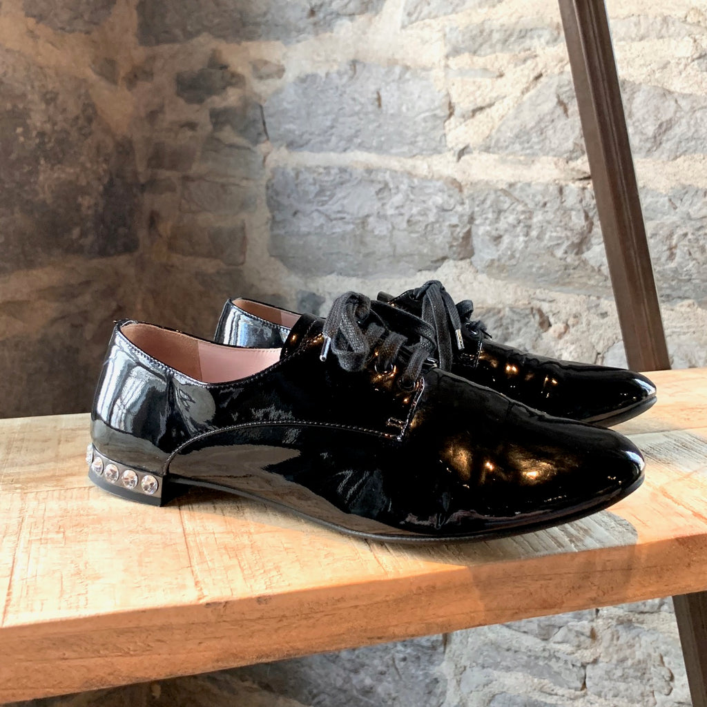 Miu Miu Black Patent Oxfords with Crystals Embellished Heels