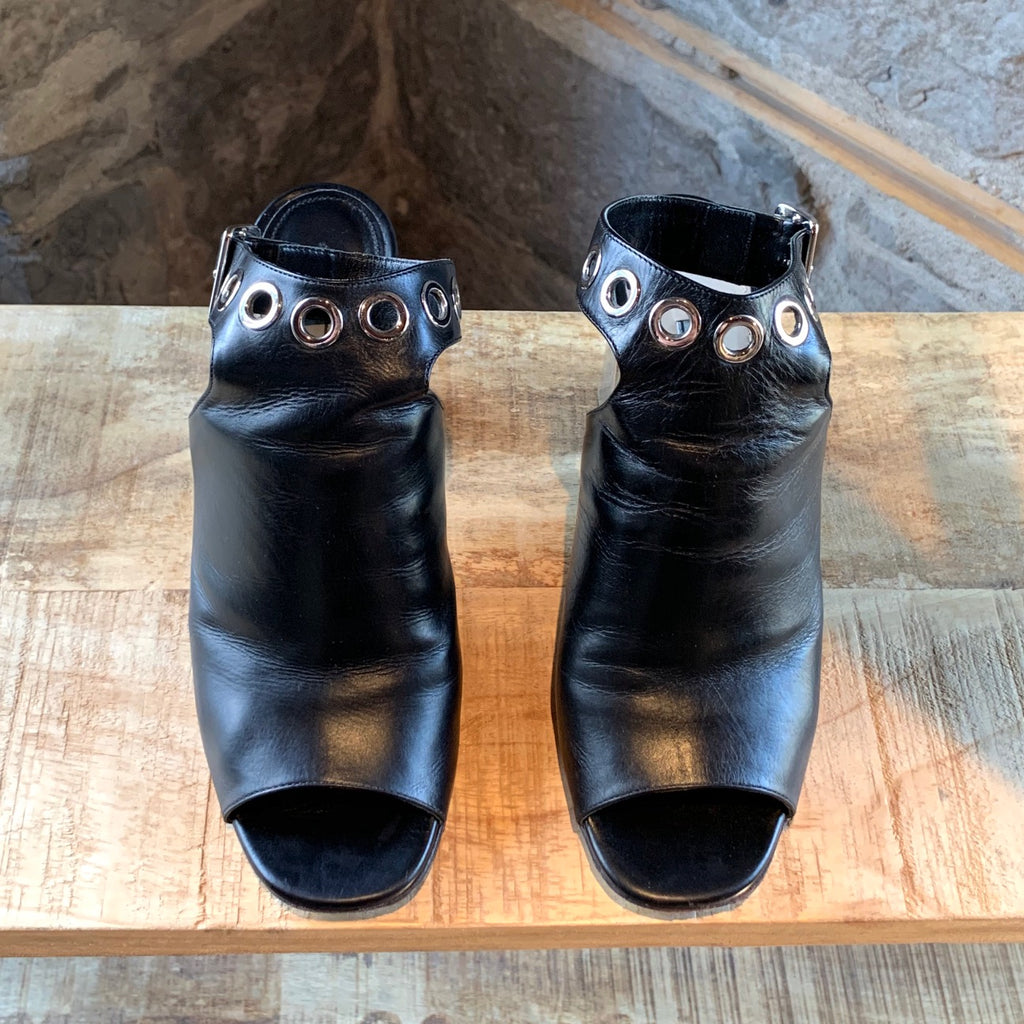 Prada Black Leather Eyelet Mirrored Heeled Open Toe Mules
