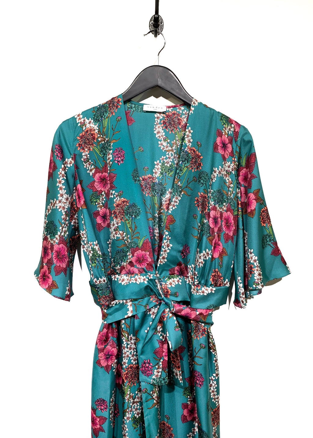 Sandro Turquoise Floral Print Silk Long Tent Dress