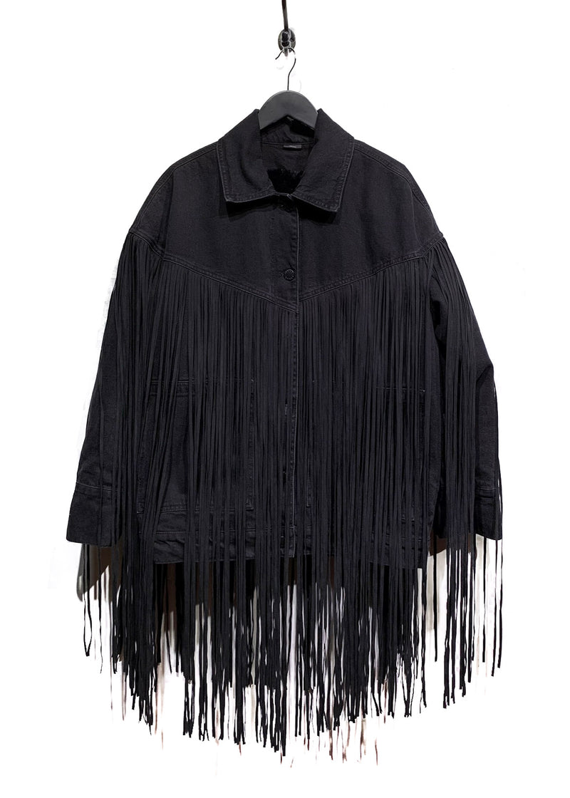 Pinko Janet Black Fringed Faux-Fur Lined Denim Jacket