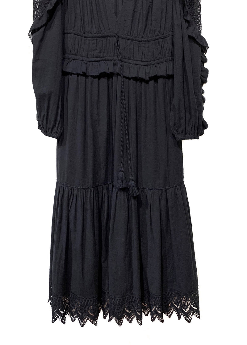 Ulla Johnson Black Long Sleeves Deep V-neck Midi Dress