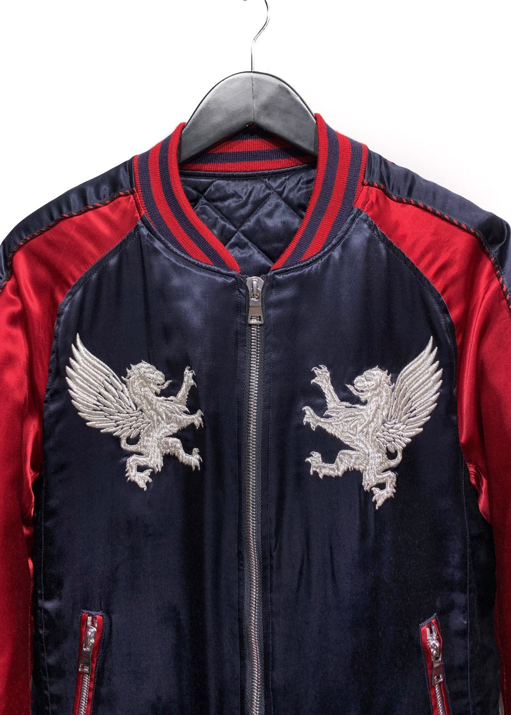 Balmain Navy Red Embroidered Satin Varsity Bomber Jacket