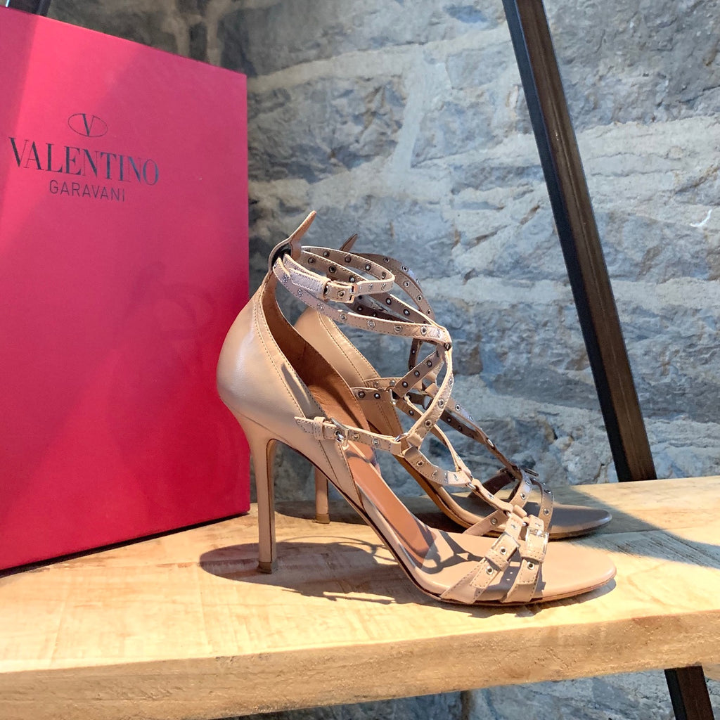 Valentino Blush Leather Love Latch Eyelet Heeled Sandals