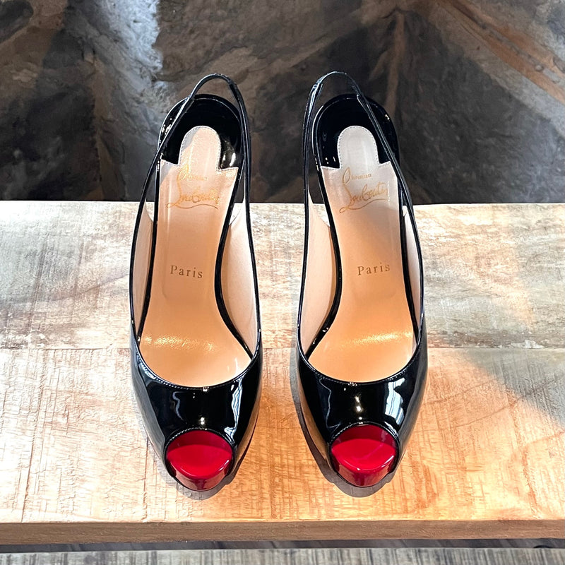 Christian Louboutin Black Patent Private Number 120 Pumps