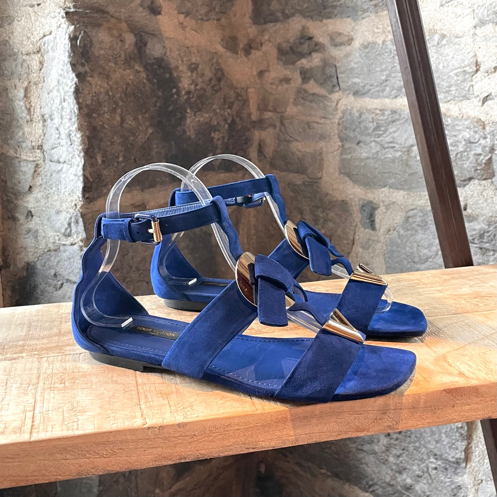 Louis Vuitton Medaillon V 2015 Royal Blue Suede Sandals