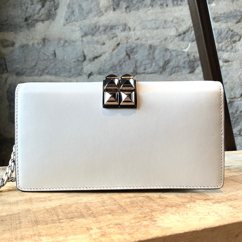 Prada White Leather Mini Studded Elektra Chain Bag