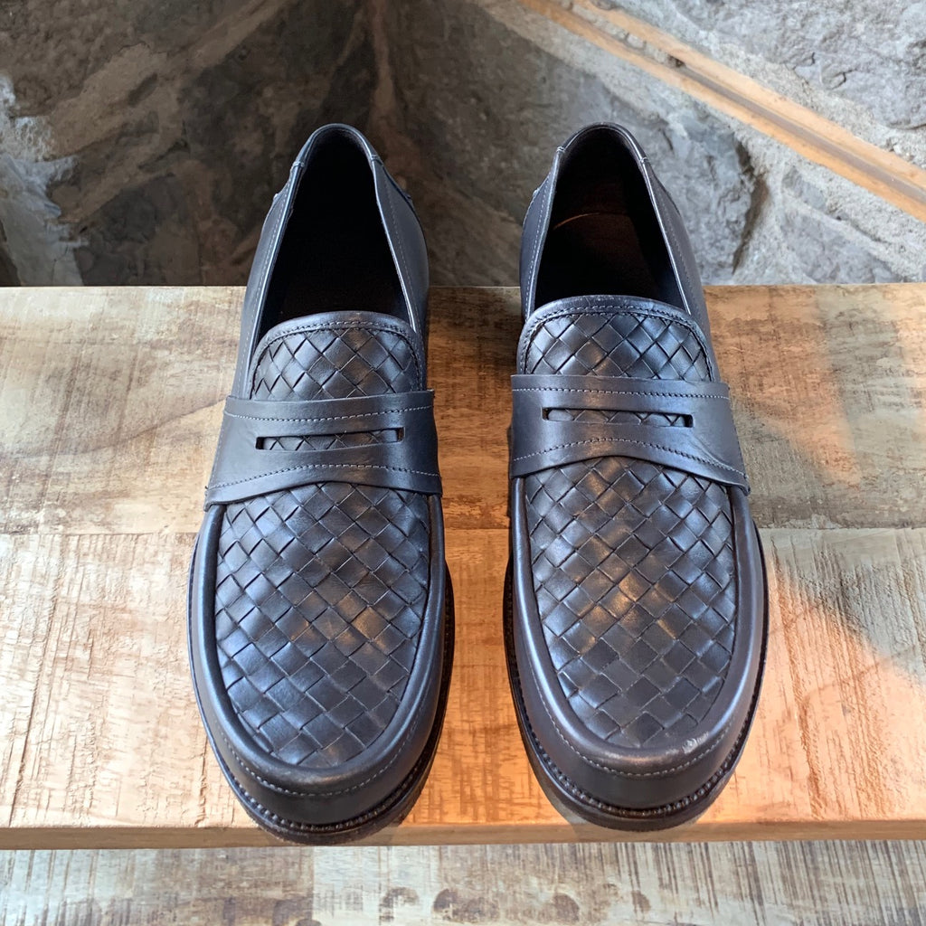 Bottega Veneta Grey Intrecciato Penny Loafers