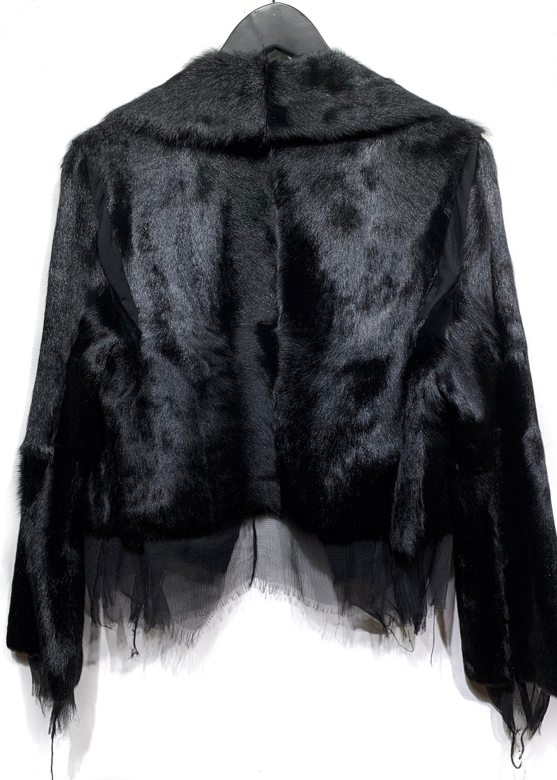 Marni Raw Edges Silk Trimmed Black Short Fur Jacket