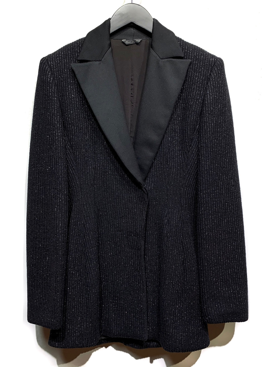 Gianni Versace Vintage Lurex Ribbed Stretch Long Blazer