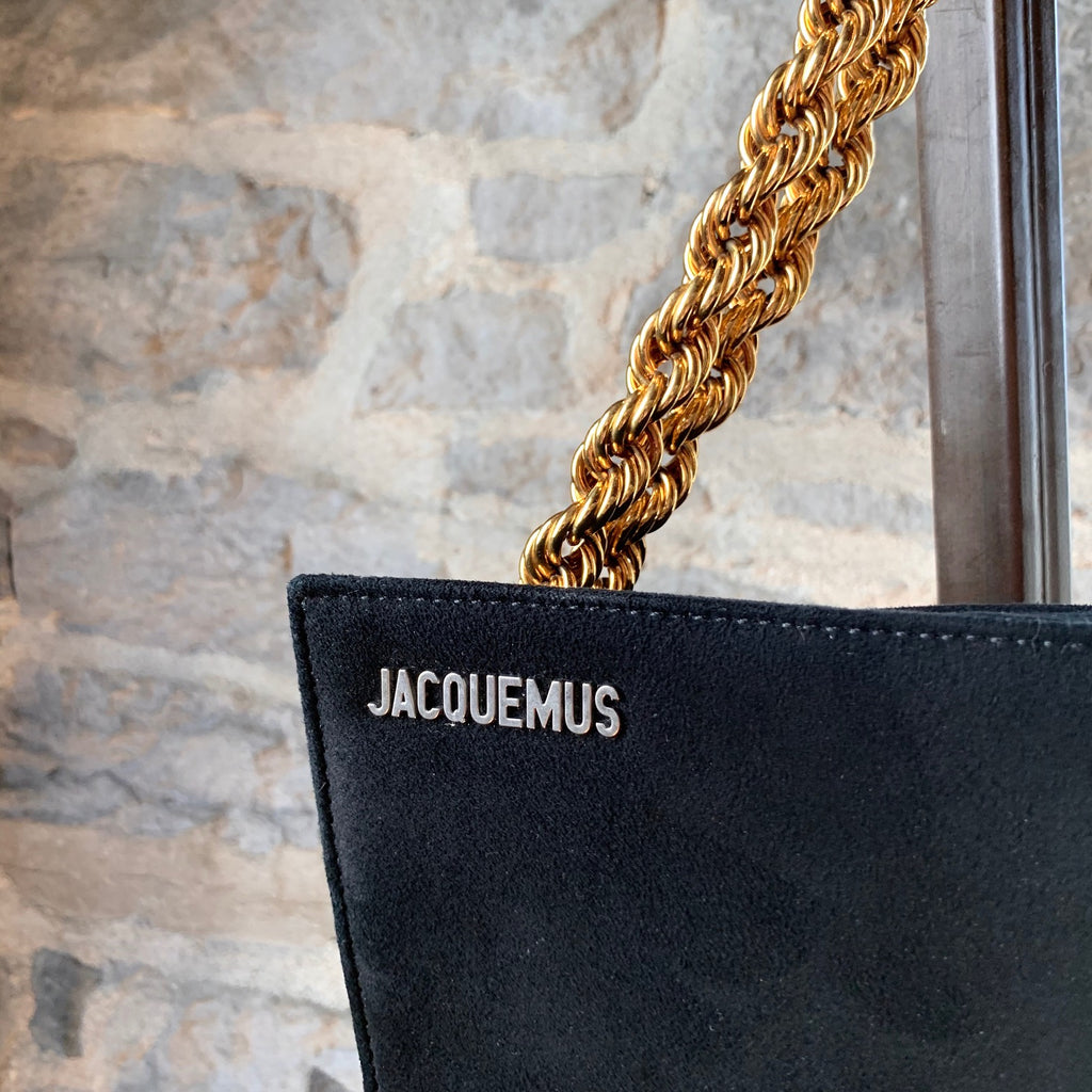 "Jacquemus Black ""Le Sac À L'Envers"" Gold Chain Handbag"